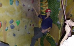 Students at the climbing wall